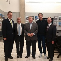 Photo: Mark Cupkovic (Building Committee of St Sava Cathedral), Frank Sciame, Don Zivkovic (Architect and Project Executive), Mitchell Micich (Chairman, Building Committee of St Sava Cathedral, John Randolph (Executive Vice President, Sciame, Inc.)