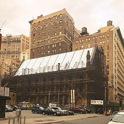View looking east to new roof, from West 25th St
